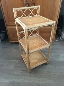 Bamboo Rattan Shelves Stand Table
