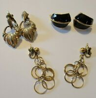 Vintage signed Trifari goldtone,Enamel Earrings Lot