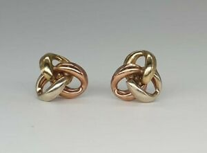 Vintage 9ct Gold Classic 3 Tri Colour Knot Stud Earrings