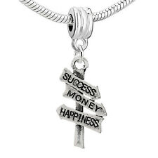 """Success, Money, Happiness Vinatage Road Sign"" Charm Bead  for All ..."