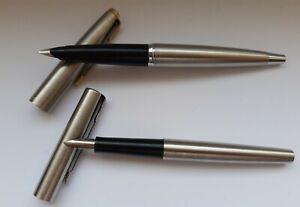 ⭐ Vintage Parker 45 & 15 Flighter Brushed Steel Fountain Pens ⭐
