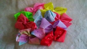 18cm Ribbon Hair Bow with Crystal Detail - Choice of 8 Colours