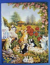 ANNABURG - JURGEN SCHOLZ - CAT KITTENS RABBITS COLLECTORS PLATE / TILE - SUMMER