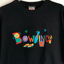 Vintage Oneita Power-T Black Bowling T-Shirt Multi-Color Embroidery