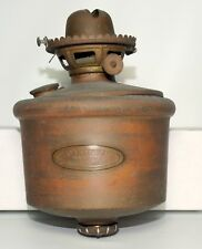 Antique Page Bros & Co Brass Wall Mount Oil Lamp With Shade - Railroad