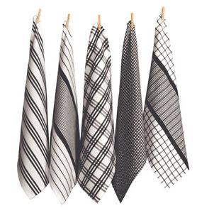 NEW RANS Milan Tea Towels 5 Piece Set Stripy & Checked 100% Cotton