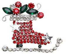 KIRKS FOLLY CHRISTMAS CRYSTAL ICE SKATE PIN  silvertone