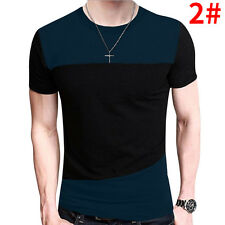 Men's Tee Shirt Slim Fit O Neck Short Sleeve Muscle Casual Tops T Shirts Black