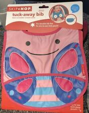 BRAND NEW SKIP HOP Zoo TuckAway Bib Blossom Butterfly Feeding Pocket Pink Purple