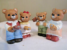 Homco Bear Figurines Mom Dad & Children Having Winnie Roast