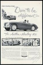 1955 Austin-Healey 100 car photo and art Dare To Be Different vintage print ad