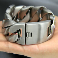 Super Heavy Chunky Cuban Link Chain Bracelet Stainless Steel Silver Brushed 31mm