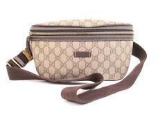 Authentic GUCCI GG Plus PVC Brown Fanny&Waist Packs Belt Bag #4040