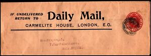 1906 KE VII Newspaper Daily Mail Wrapper 1d to Switzerland