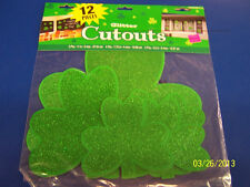 St Patrick's Day Green Shamrock Clover Irish Party Decoration Glitter Cutouts