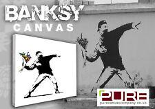 BANKSY FLOWER THROWER Box Canvas Art