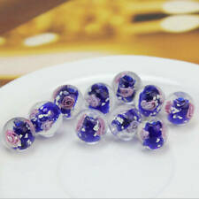 10x 12mm Dark Blue Faceted Lampwork Flower Glass Loose Beads For Jewelry Making
