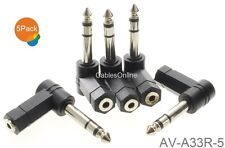 "5-Pack, 3.5mm Stereo Female to 1/4"" Stereo Male Right Angle Audio Adapter"