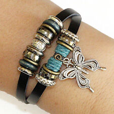 RETRO 2 ROW ADJUSTABLE LEATHER & BUTTERFLY SIMPLY BUT UNUSUAL DESIGN BRACELET,