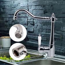 Swivel Spout Retro Chrome Kitchen Sink Mixer Taps Single Lever Monobloc Faucets