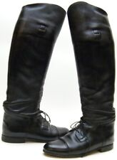 WOMENS EMERSON BLACK LEATHER TALL EQUESTRIAN LACE CAPTOE RIDING BOOTS 9.5~1/2 W