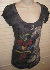 *Cecico*Bling Roses.Heart Love Graphic Cap Sleeve Soft Tee Tunic Shirt *Sz M