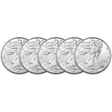 2021 American Silver Eagle 1 oz $1 - Bu - Five 5 Coins