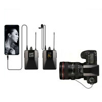 Dual Wireless Lapel Mic for iPhone, DSLR Camera, PA Speaker, YouTube, Podcast,
