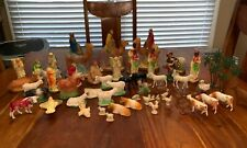 Huge Lot Of Vintage Antique Nativity Scene W Animals Wise Men Angels (Mf)
