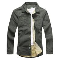Men's Casual Thick Sherpa Army Cargo Shirt Jacket Work Military Double Pockets