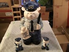Please officer bear ceramic cookie jar with salt and pepper shakers made by suns