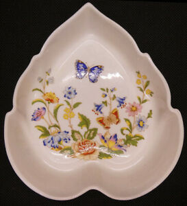 Ansley Cottage Garden Leaf Dish with Blue Butterfly and Flowers