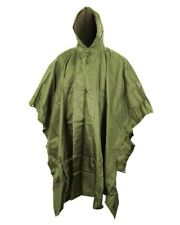 Olive Waterproof Hooded Ripstop US Army Poncho Emergency Shelter Hiking Trekking