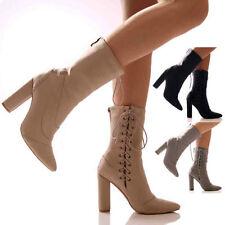 "Women's Suede Block Very High (greater than 4.5"") Heels"