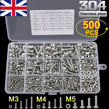 500pcs M3 M4 M5 304 Stainless Steel Precise Hex Head Cap Screw Bolts + Nuts