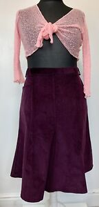 Sz 18 - Country Collection - Skirt Plum Corduroy Midi Pockets Flare Immaculate