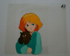 Unknown Girl with Cat Anime Cel