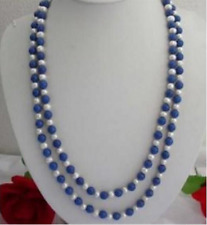 """8mm Egyptian Blue Lapis Lazuli & 7-8MM White Pearl Necklace 36"""""""
