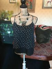 C&A CLOCKHOUSE Ladies Dip Hem Navy Black Floral Layered Strappy Top Size M NEW