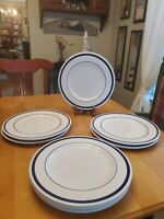 "Nautica Signature Tablewares Portugal 10.75"" Dinner Plates Blue Rim Set of 4"