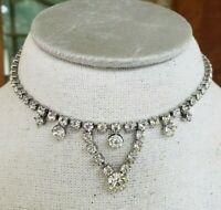 Vtg Clear Rhinestone Silver Tone Choker Adj Length Necklace Bridal