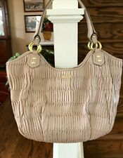 Coach Ashley F23928 Piper Gathered Leather Shoulder Tote Tan Color Large!