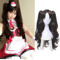 Fate Stay Night Tohsaka Rin Dark Brown Clip Ponytails Wavy Cosplay Full Wig