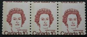 Canada #605 Cutting Error Coil Strip Of 3, Top Of Stamps Show Next Row, MNH OG