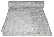 Queen Size Pasisley Kantha Quilt Reversible Bedspread Bedding Throw Blanket