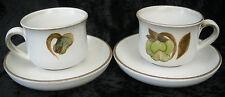 Vintage Retro Denby Troubadour Cup Saucer Tea Coffee x2 Green Magnolia 70s Set