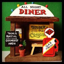 """All Night Diner"" Gas Station 1979 Vintage Enesco Wood Coaster Set Of 6"