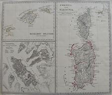 CARTE dCorse et d Sardaigne, de la Valette, et des îles Baléares, XVIII , MALTE