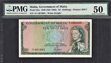 Malta 10 Shillings 1949 (ND 1963) QEII Pick-25a Alomst UNC PMG 50