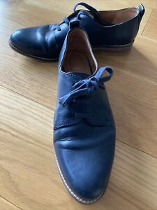 Seasalt Cornwall Brogues Navy Leather Lace Up Smart Flat Shoes UK Size 6 EU 39